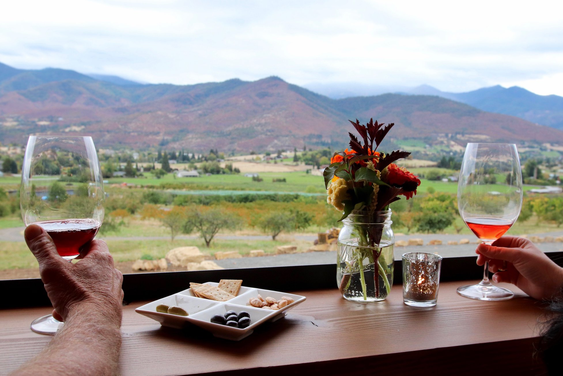 View with wine glasses and charcuterie tray